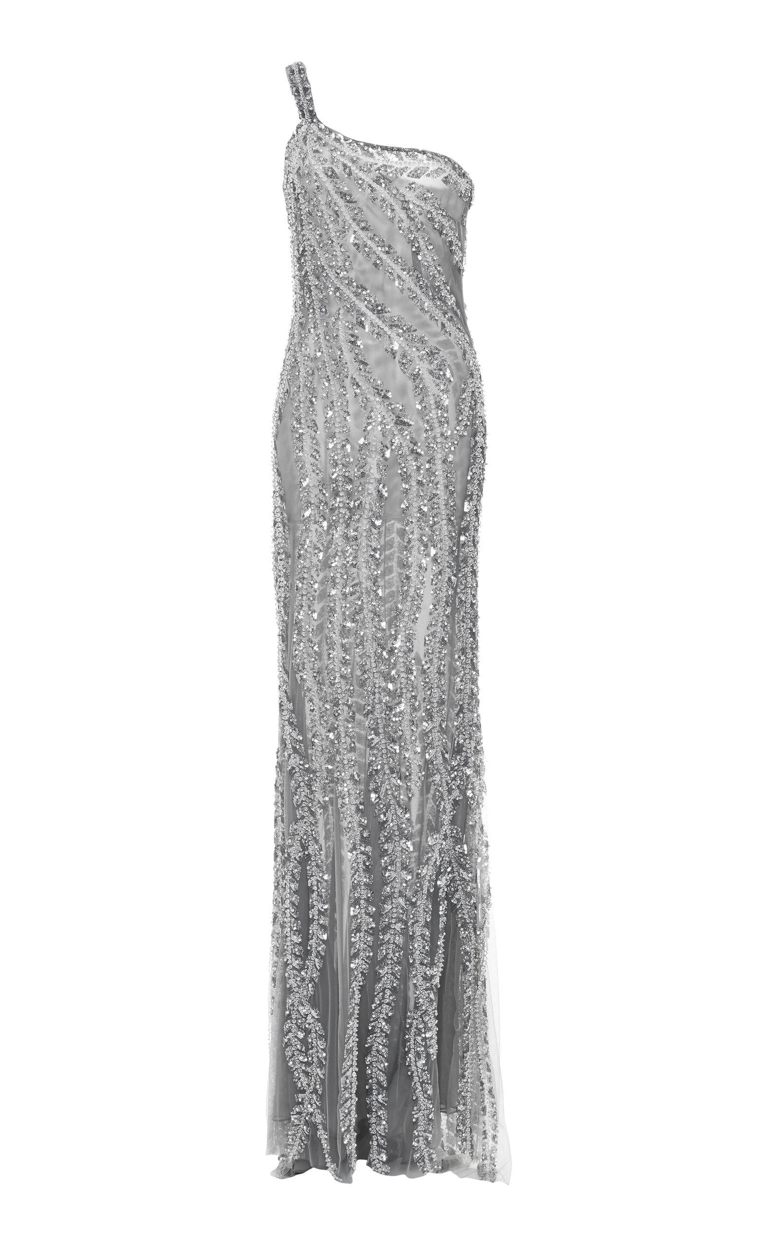 Beaded One Shoulder Gown by NAEEM KHAN for Preorder on Moda Operandi ...