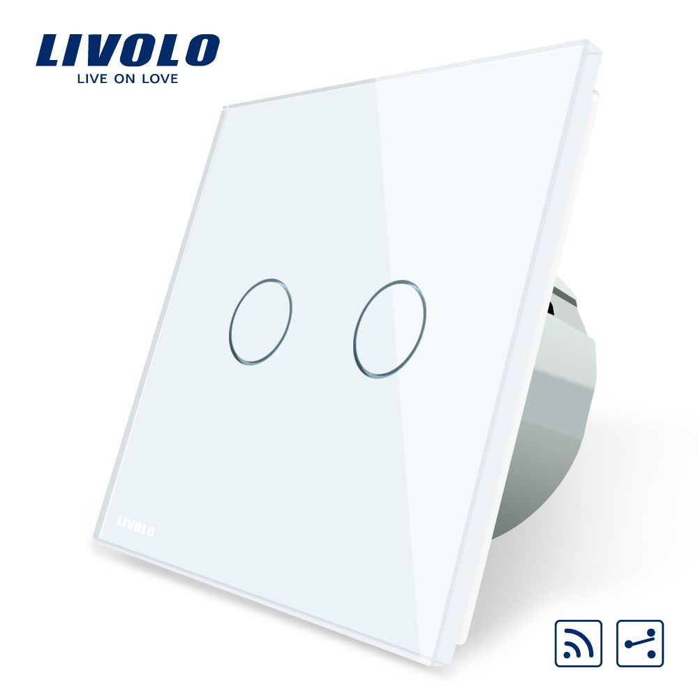 Livolo EU Standard, Touch Remote Switch, White Crystal Glass Panel ...