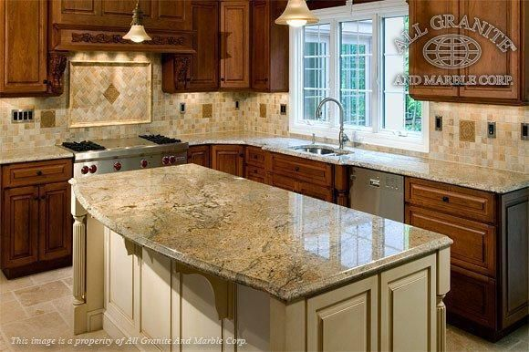 Granite Countertops With Mixed Wood Cabinets Kitchen Design