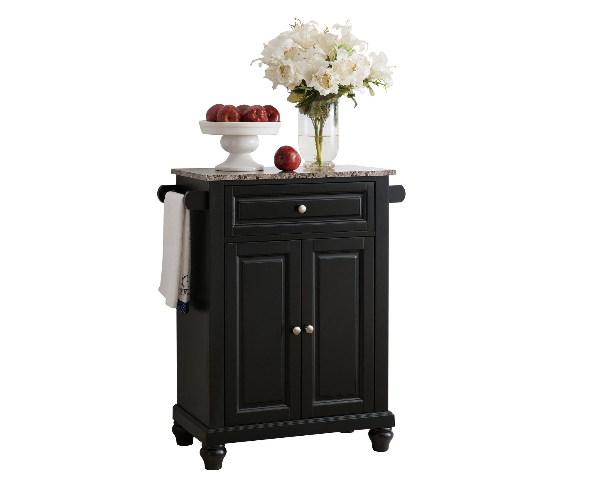Black With Marble Finish Top Kitchen Island Storage Cabinet