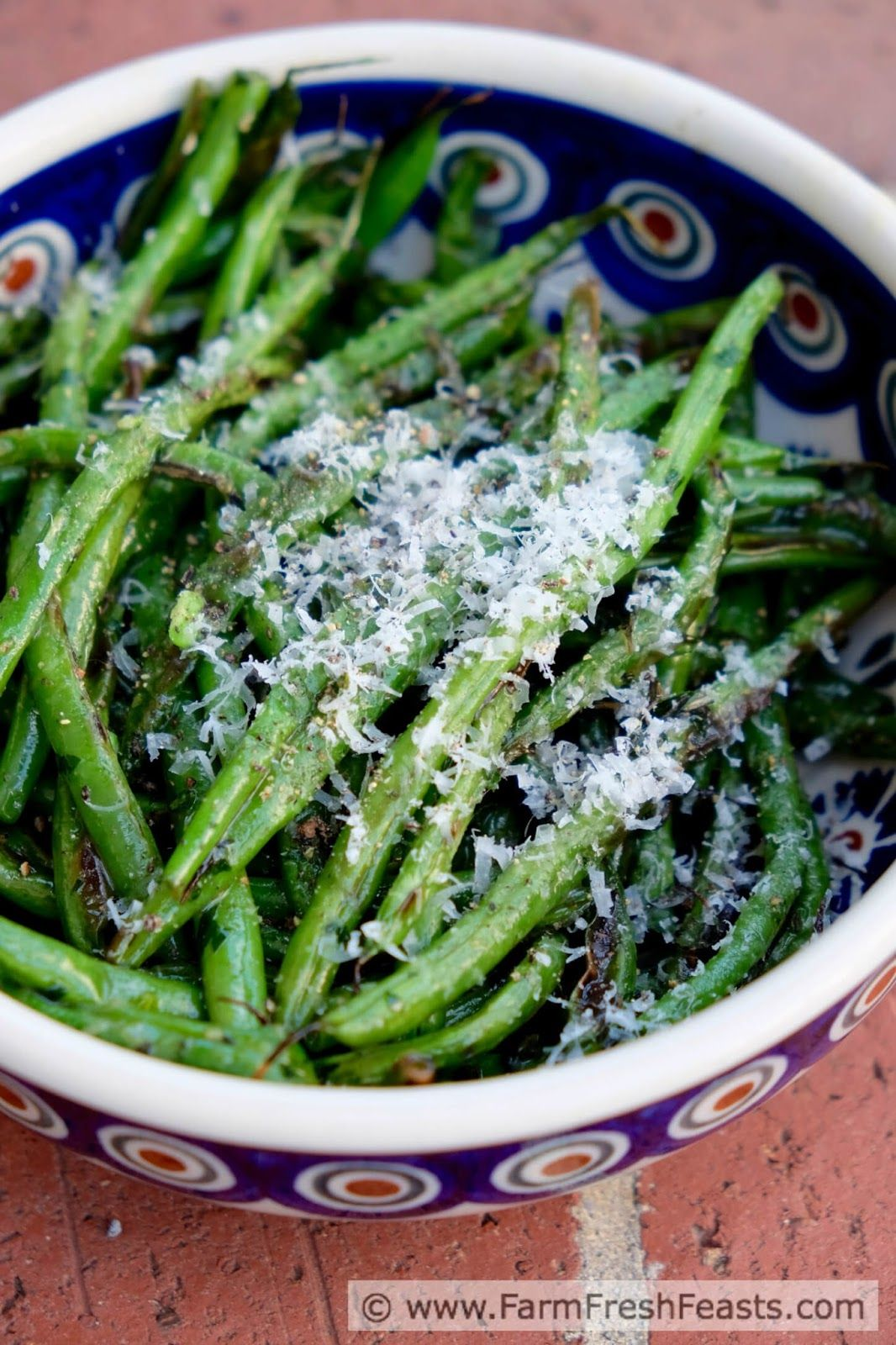 Grilled Green Beans with Garlic Scape Pesto and Parm www.farmfreshfeasts.com