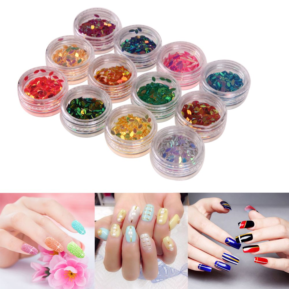12pcs Oval Nail Sequins Decals Colorful Drop Shape Glitter Palette Spangles 3D Design Manicure Painting Polish Nail Decoration #Affiliate