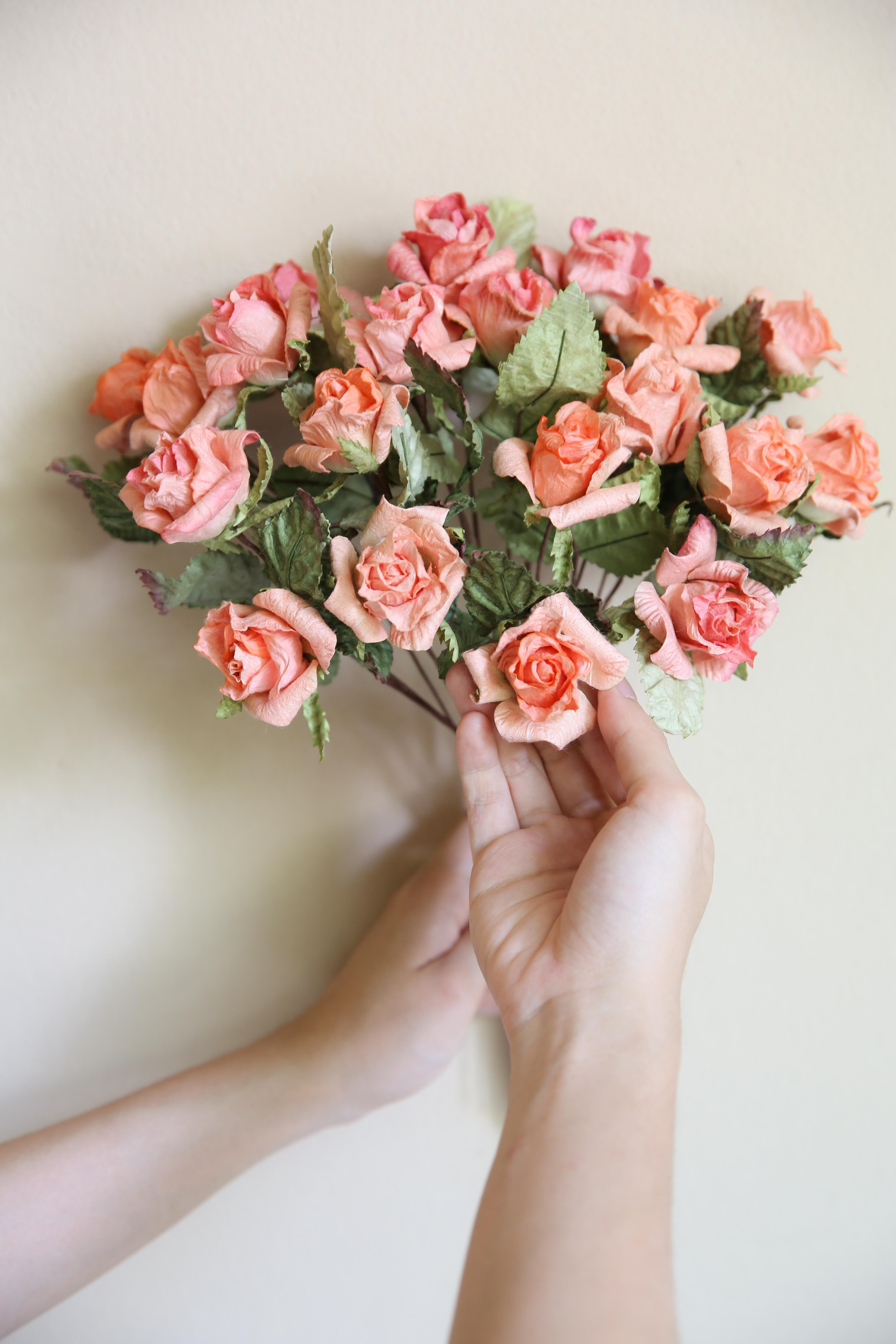 Peach Small Rose Small Rose Mulberry Paper Pinterest