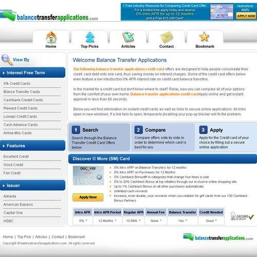 Website Design For Balance Transfer Credit Card Website Responsive