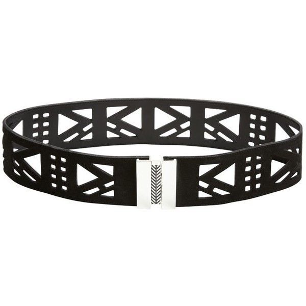 Sass & Bide The Testimonial Laser Cut Leather Belt (465 CAD) ❤ liked on Polyvore featuring accessories, belts, black and silver, 100 leather belt, leather belt, aztec belt, genuine leather belt and real leather belts