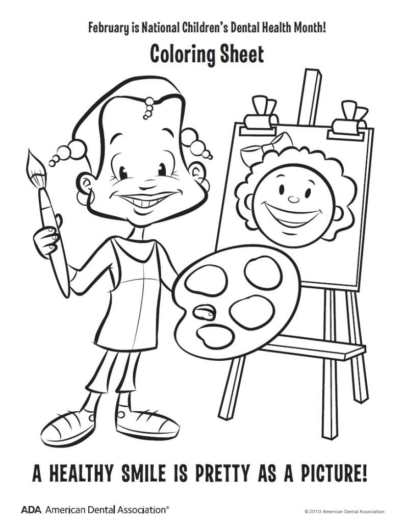 4 coloring pages dental health month