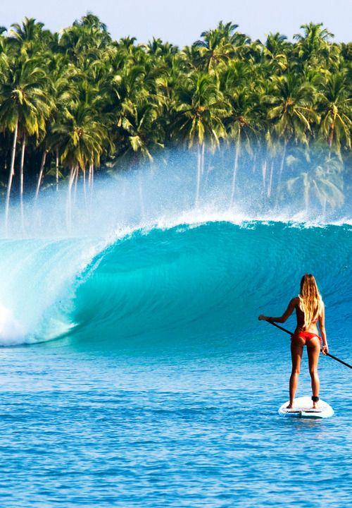 Barrel + Paddle Boarding = Awesome Shot! Cerca de del paraiso
