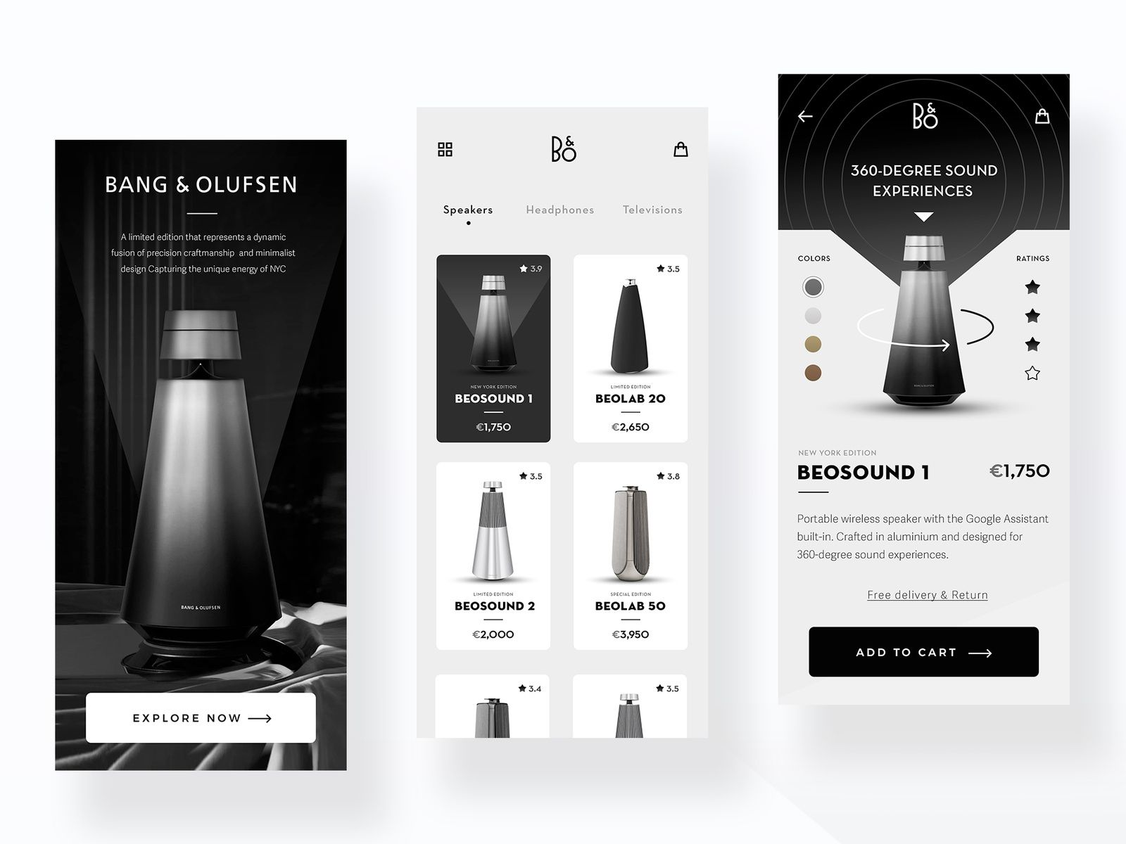 Speaker Store App in 2020 App design, Concept design