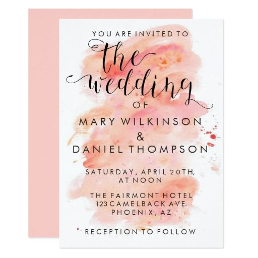 Pink Watercolor Background Wedding Invitation Zazzle Co Uk In 2020 Wedding Saving Watercolor Wedding Invitations Wedding Save The Dates