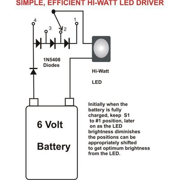 The Post Explains A Simplest 1 Watt Led Driver Circuit Using A 6v 4ah Battery Led Drivers Circuit Projects Circuit