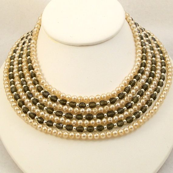 Vintage 1960s Collar Necklace Multi Strand Glass Pearls Beads Gray Ivory