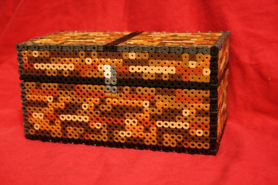 minecraft large chest made of perler and hama beads by. Black Bedroom Furniture Sets. Home Design Ideas