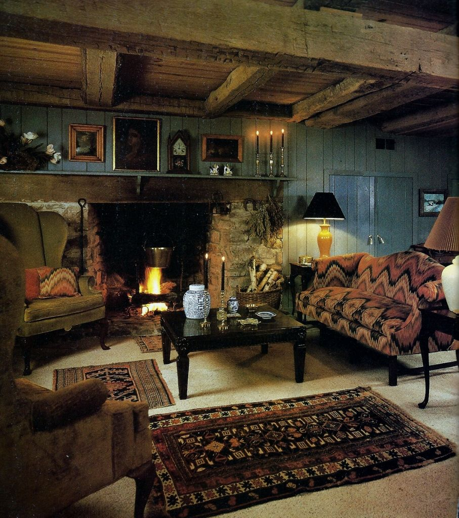 rustic grand victorian living room design | I love the beams in this room and the pattens of the couch ...