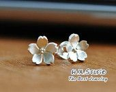Handmade Sterling Silver Sakura Flower (Cherry Blossom) Earring, 925 Silver Sakura Ear Studs, Teenage, Valentine, Bridemaid, Bridal, Wedding
