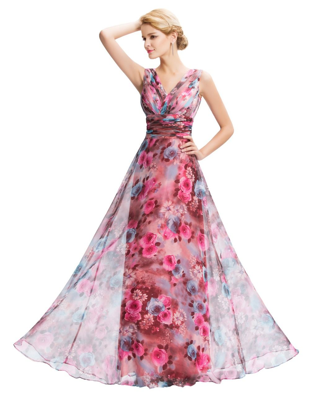 New floral print evening dresses long v neck chiffon party gowns