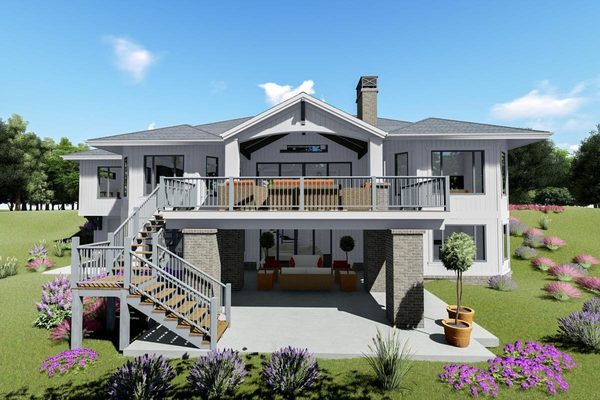 Plan 64468sc Modern Farmhouse Plan With Optional Finished Lower Level In 2020 Sloping Lot House Plan Modern Farmhouse Plans Farmhouse Plans