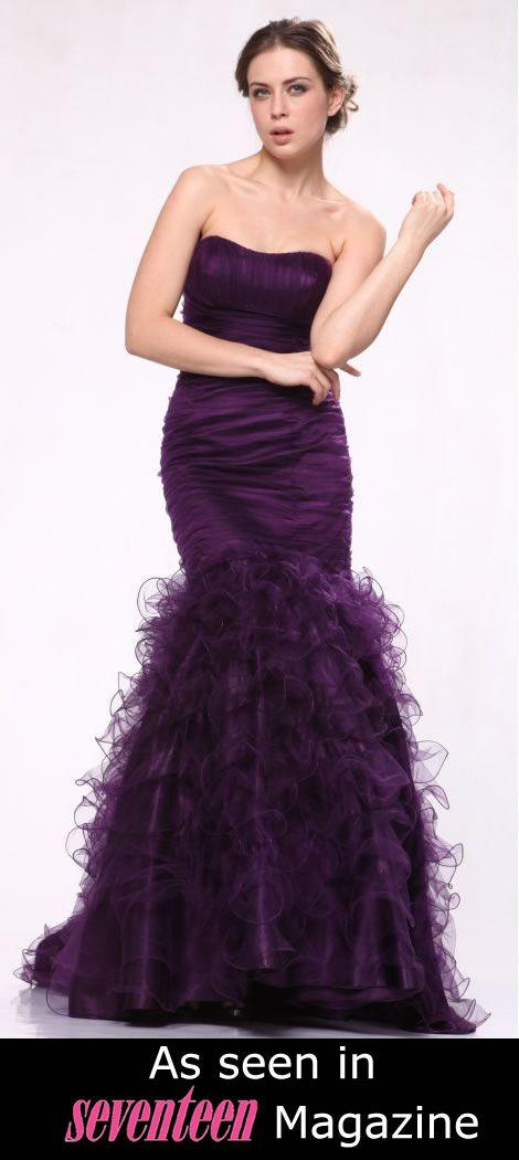 Hollywood Purple Mermaid Prom Dress Manhattan Red Carpet Strapless ...