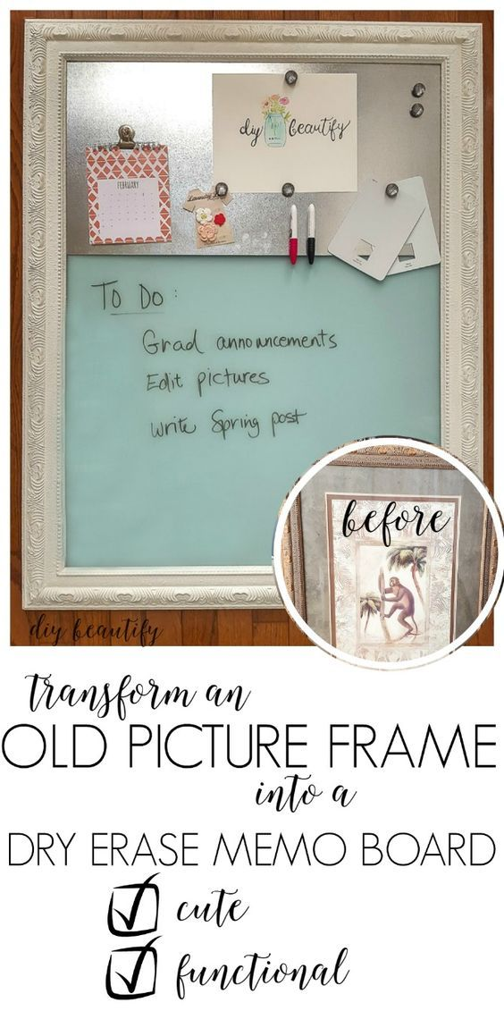 Dry Erase Magnetic Memo Board From An Old Picture Diy Memo Board