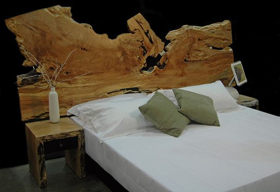 Reclaimed Wood Furniture Live Edge bed headboard - natural edge