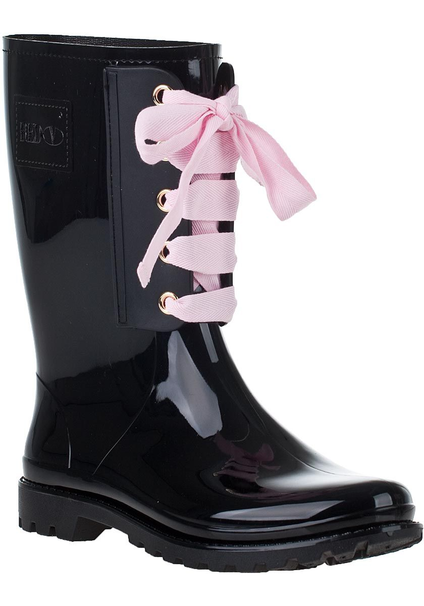 RED Valentino - Lace-Up Rain Boot Black Rubber