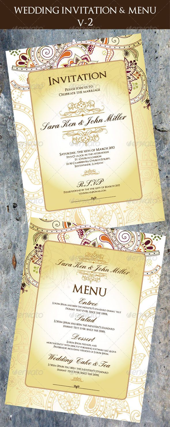 Wedding invitation menu cards v 2 template fonts and print wedding invitation menu cards v2 photoshop psd accouncement floral available here stopboris Image collections