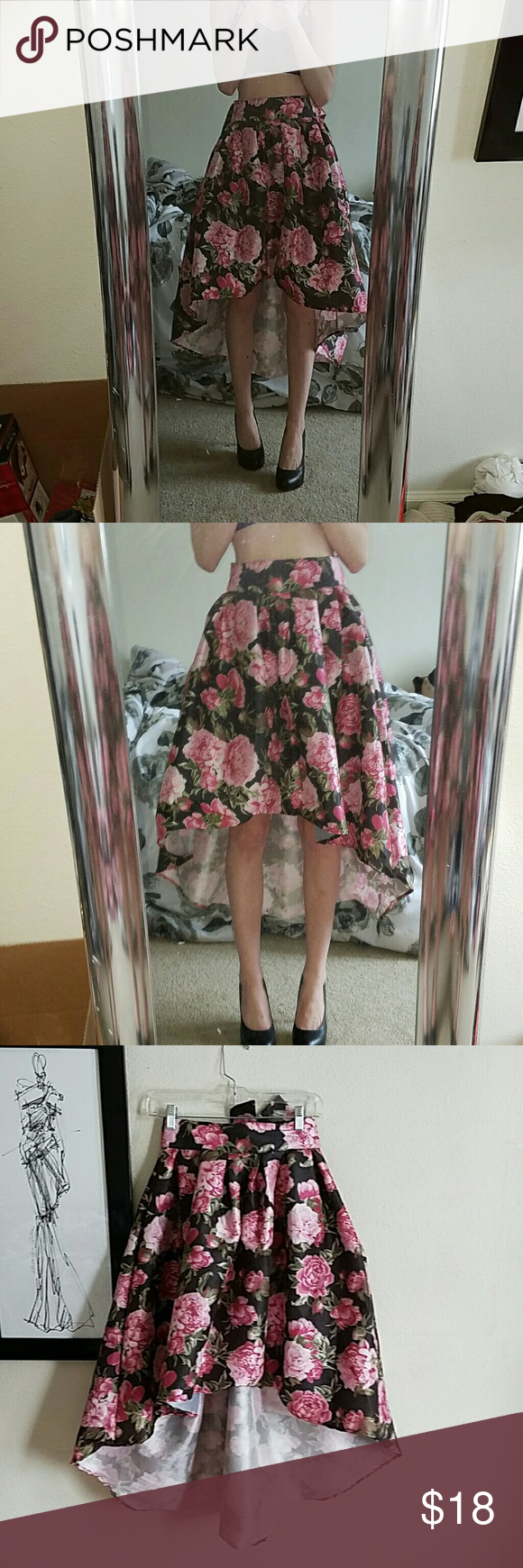 Extravagant floral skirt This skirt is beautiful! High low, pink and green rose print. Rue 21 Skirts High Low