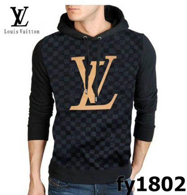 Louis Vuitton Hoody Damier Long Sleeve Men sweater black