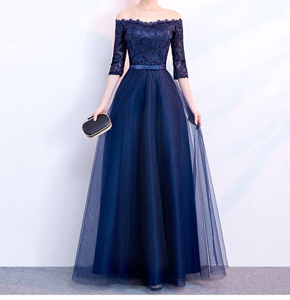 Elegant Navy Blue Evening Dress Strapless Half Sleeves Pleats Tulle Lace Top Prom Dresses Lace Up Zipper Back Plus Size Evening Dresses Fashion Dresses Formal Dresses For Women From Lpdqlstudio, $100.61| DHgate.Com #fashiondresses