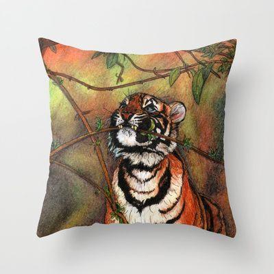 """Bébé tigre / Baby tiger"" Throw Pillow by Savousepate #drawing #tiger #feline #throwpillow #pillow #homedecor"
