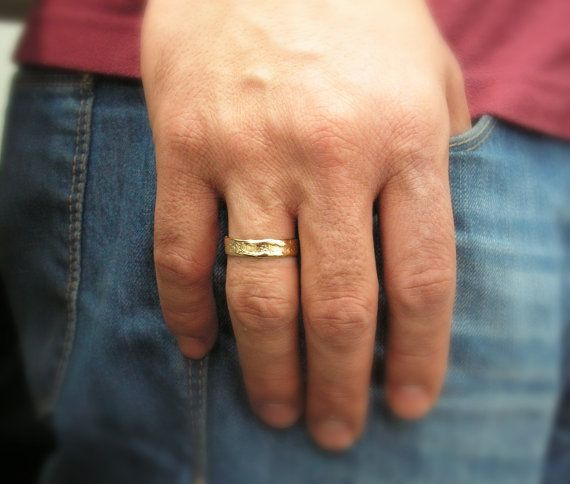 Men Wedding Ring 14k Gold Hand Molded Band Women Yellow
