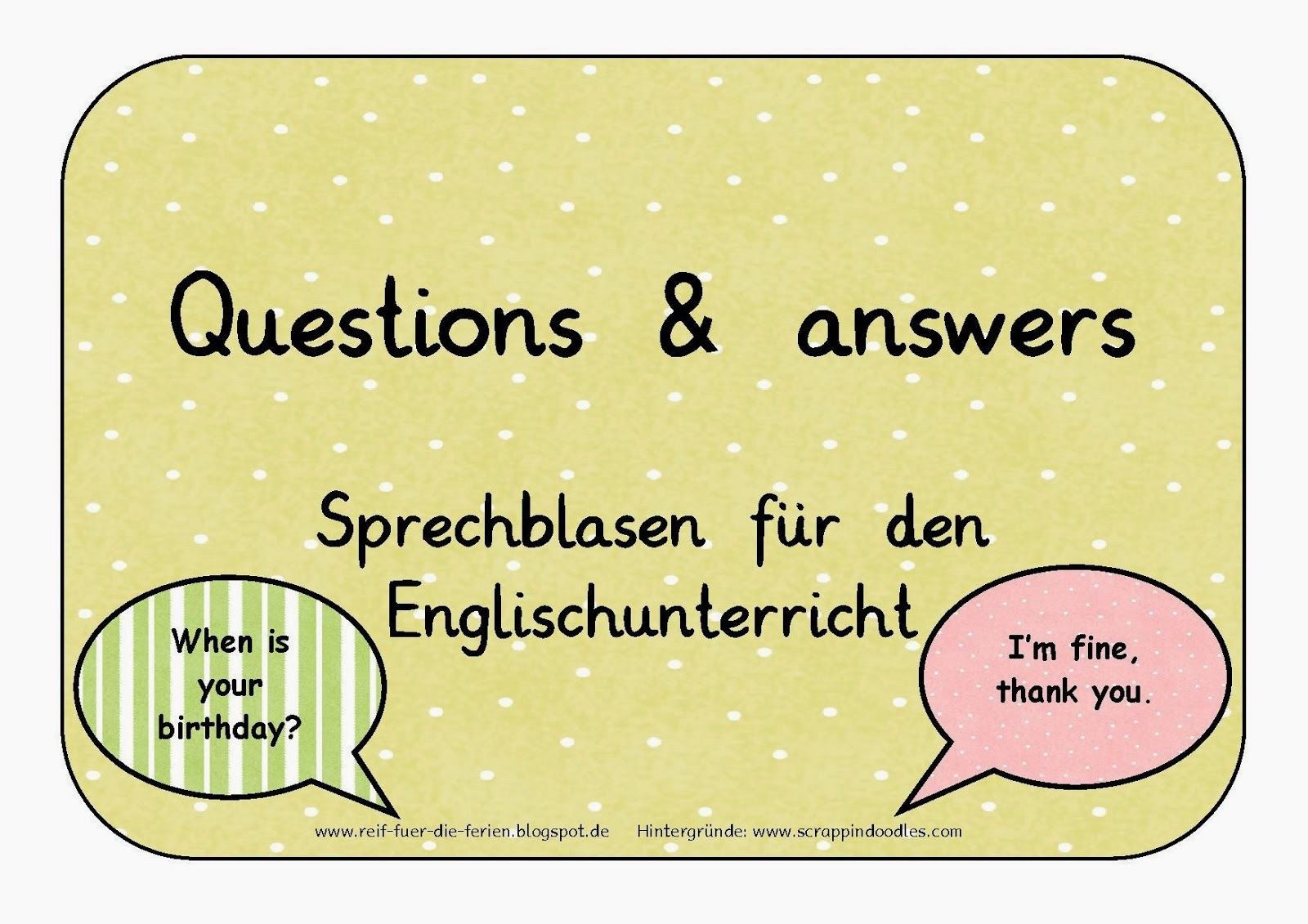 Sprechblasen - questions and answers | Routinas Portaceli ...