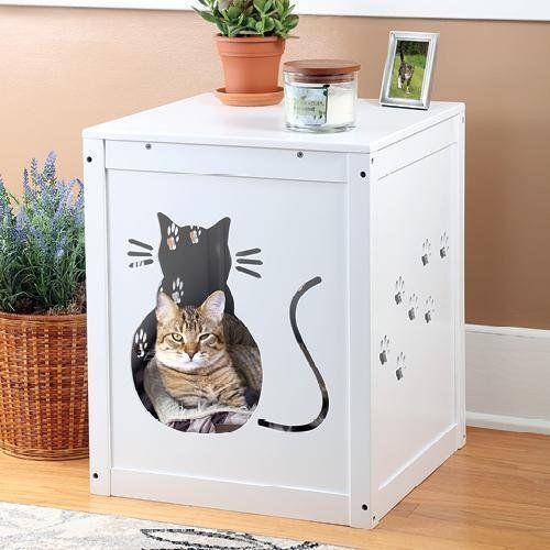 Decorative Litter Box Covers White Wood Decorative Litter Box Cover  Products  Pinterest