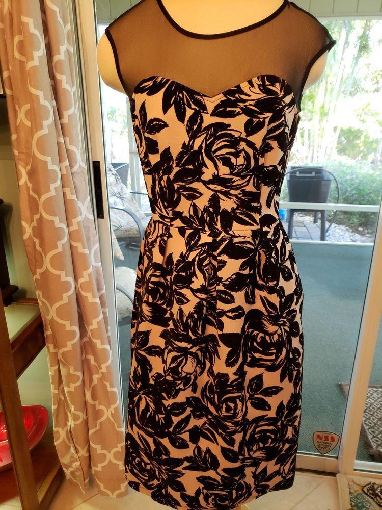 7bec16d57b7 Enfocus Studio Dress sz 6 Black White Waist flocked black flowers. Great.   fashion  clothing  shoes  accessories  womensclothing  dresses (ebay link)