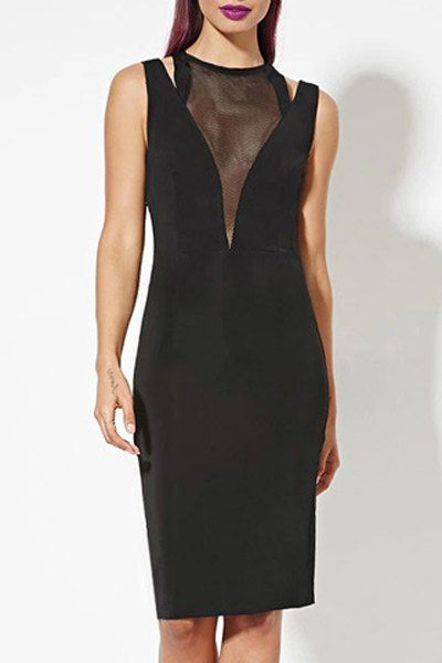 Mesh Spliced Round Collar See-Through Bodycon Dress