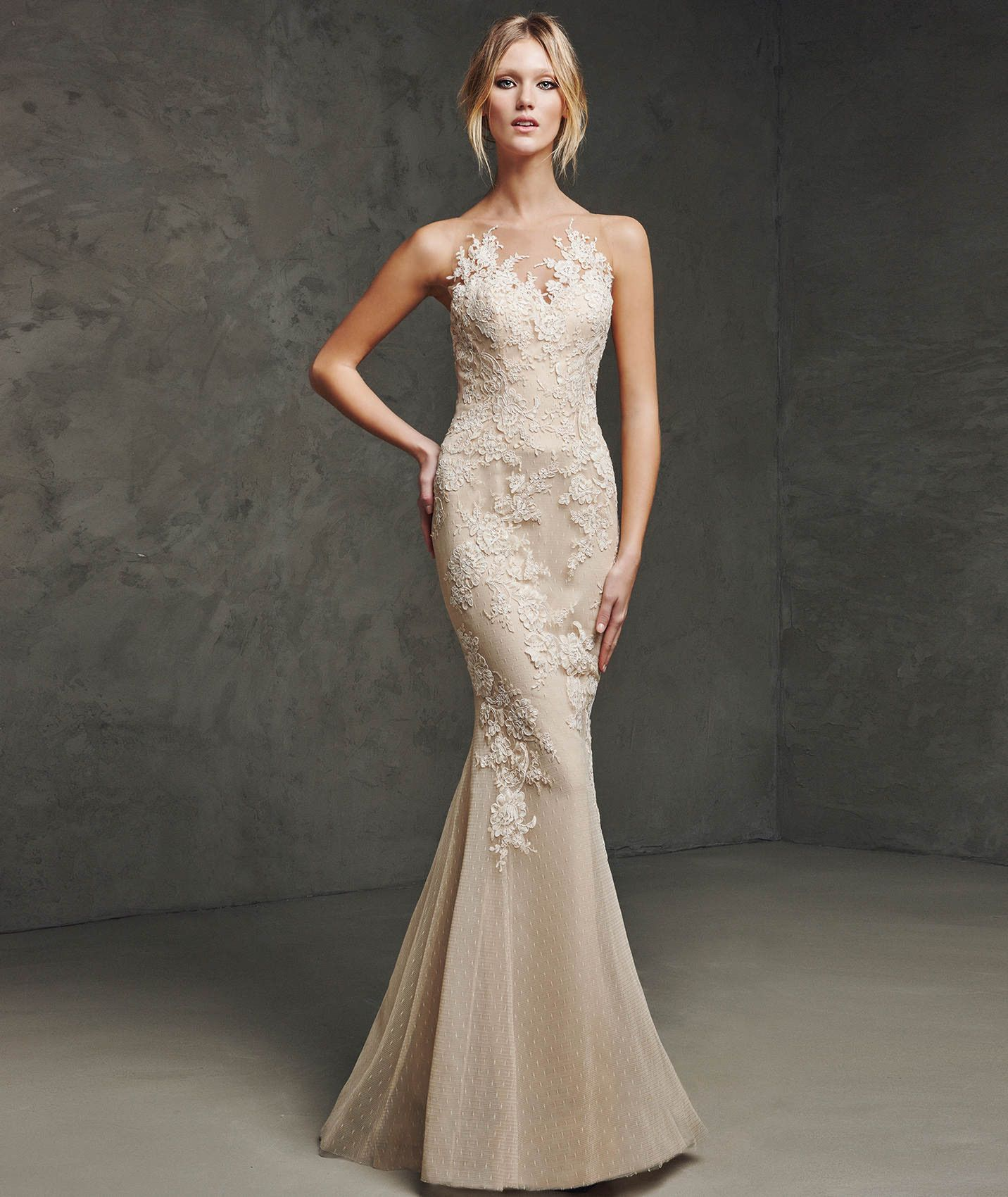 See Through Back O Neck Floor Length Champagne Lace Trumpet Mermaid ...