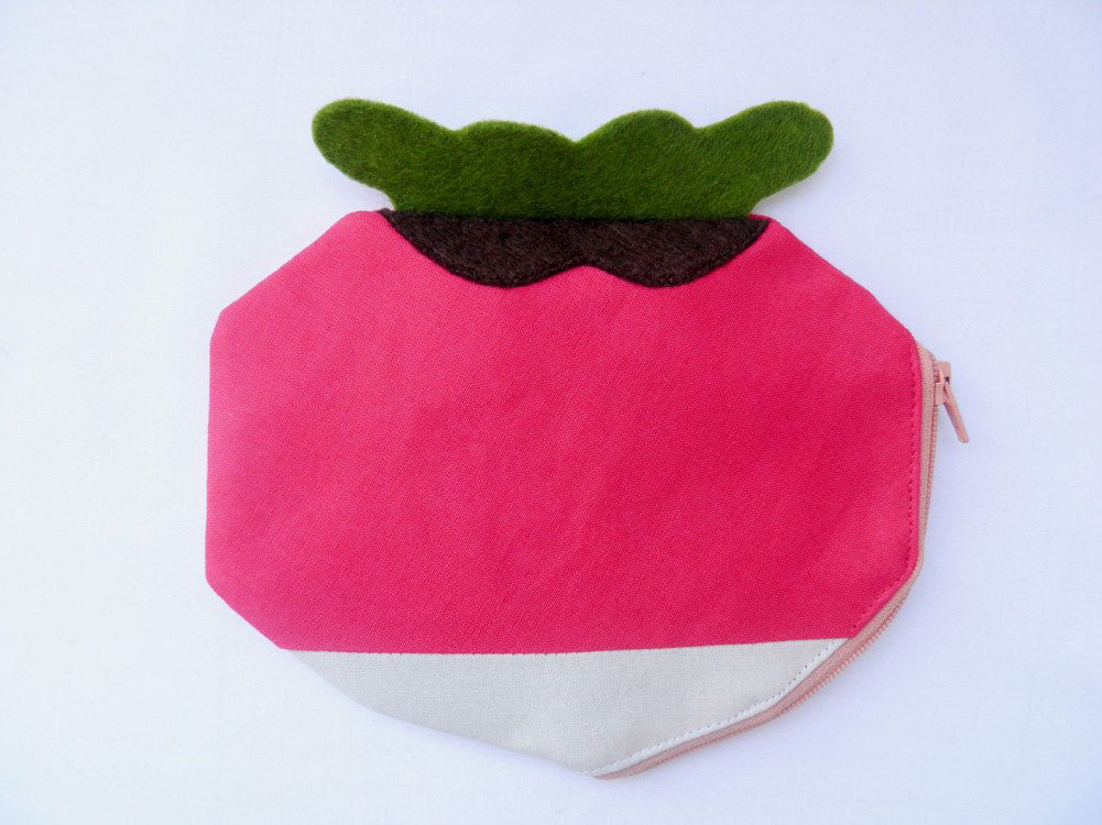 geometric Radish SMALL zipper pouch hot pink by OneLittleRedFox