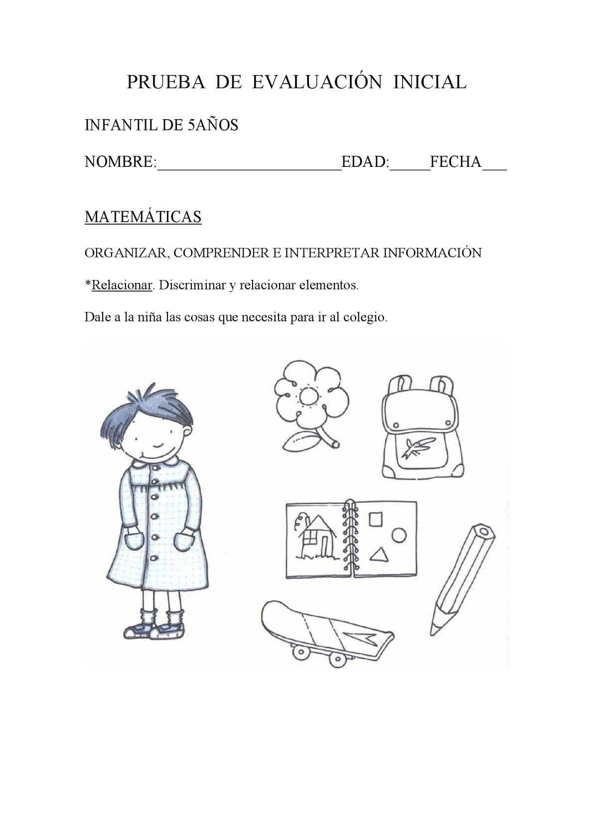 Prueba De Evaluación Inicial Infantil 5 Anos Matematicas Reading Interactive Word Search Puzzle