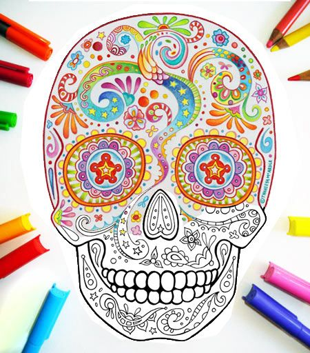 - Sugar Skull Images Sugar Skull Coloring Pages To Print « Art &  Consciousness Skull Coloring Pages, Coloring Pages, Sugar Skull Design