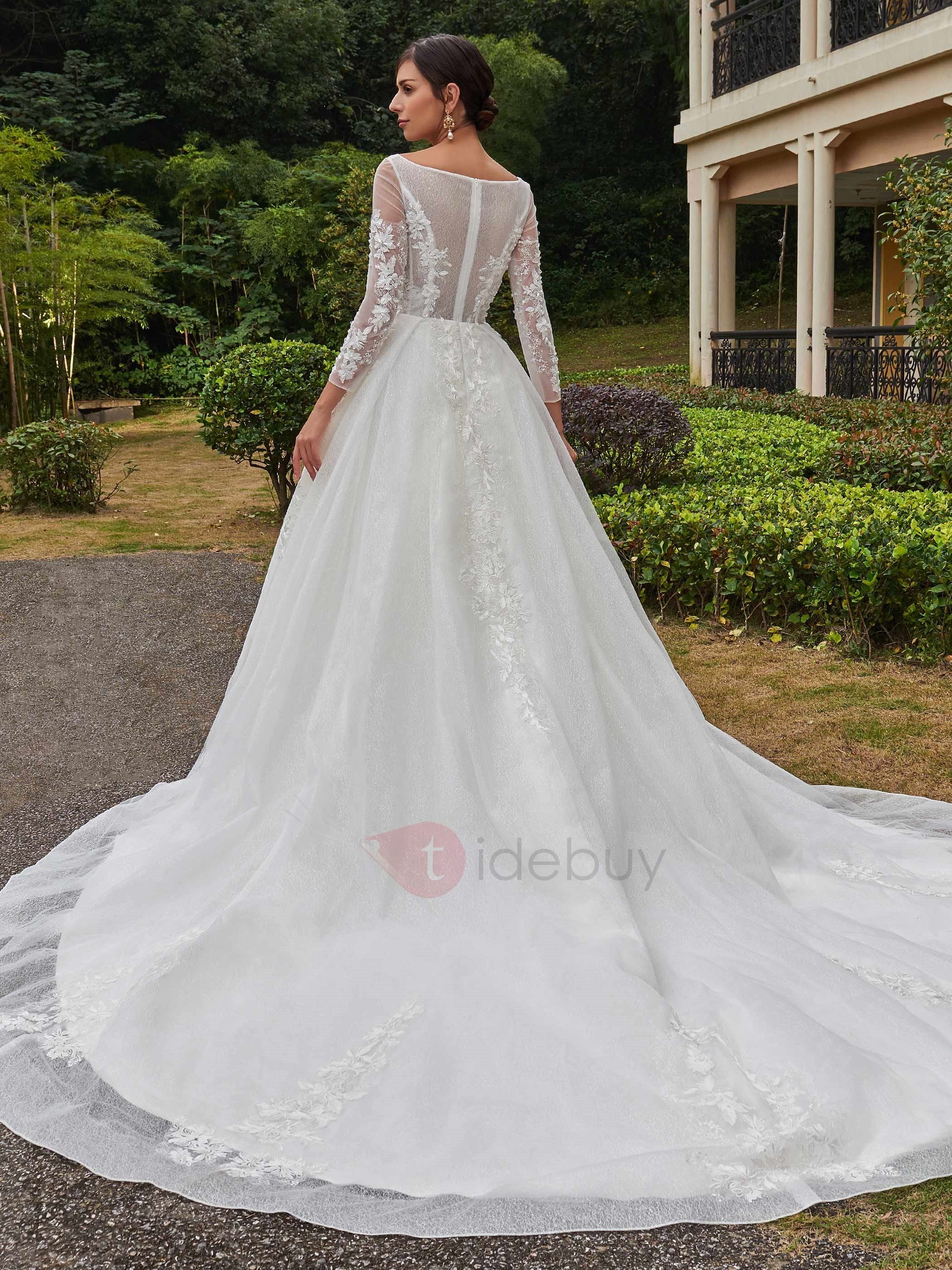 Elegant square neckline appliques long sleeves wedding dress