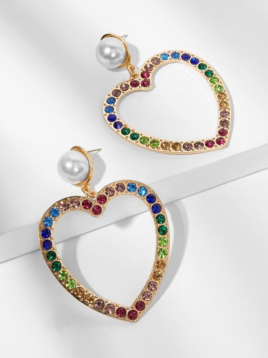 fc63f002ae Gemstone Engraved Open Heart Drop Earrings -SheIn(Sheinside) | Wish ...