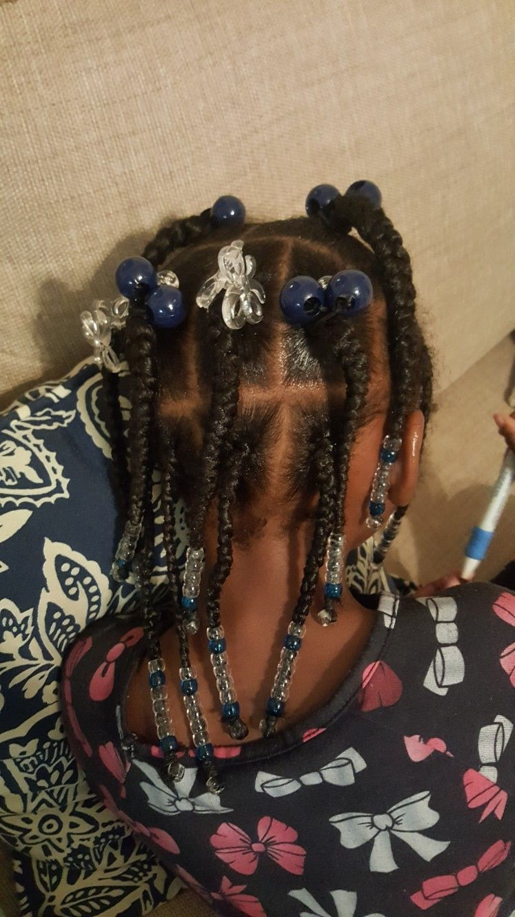 Simple hair styles for little black girls braids beads and
