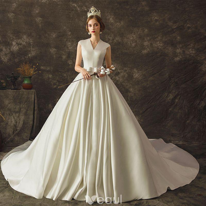 Cowl Neck Silk Sheath Wedding Gowns: Modest / Simple Ivory Satin Wedding Dresses 2019 A-Line