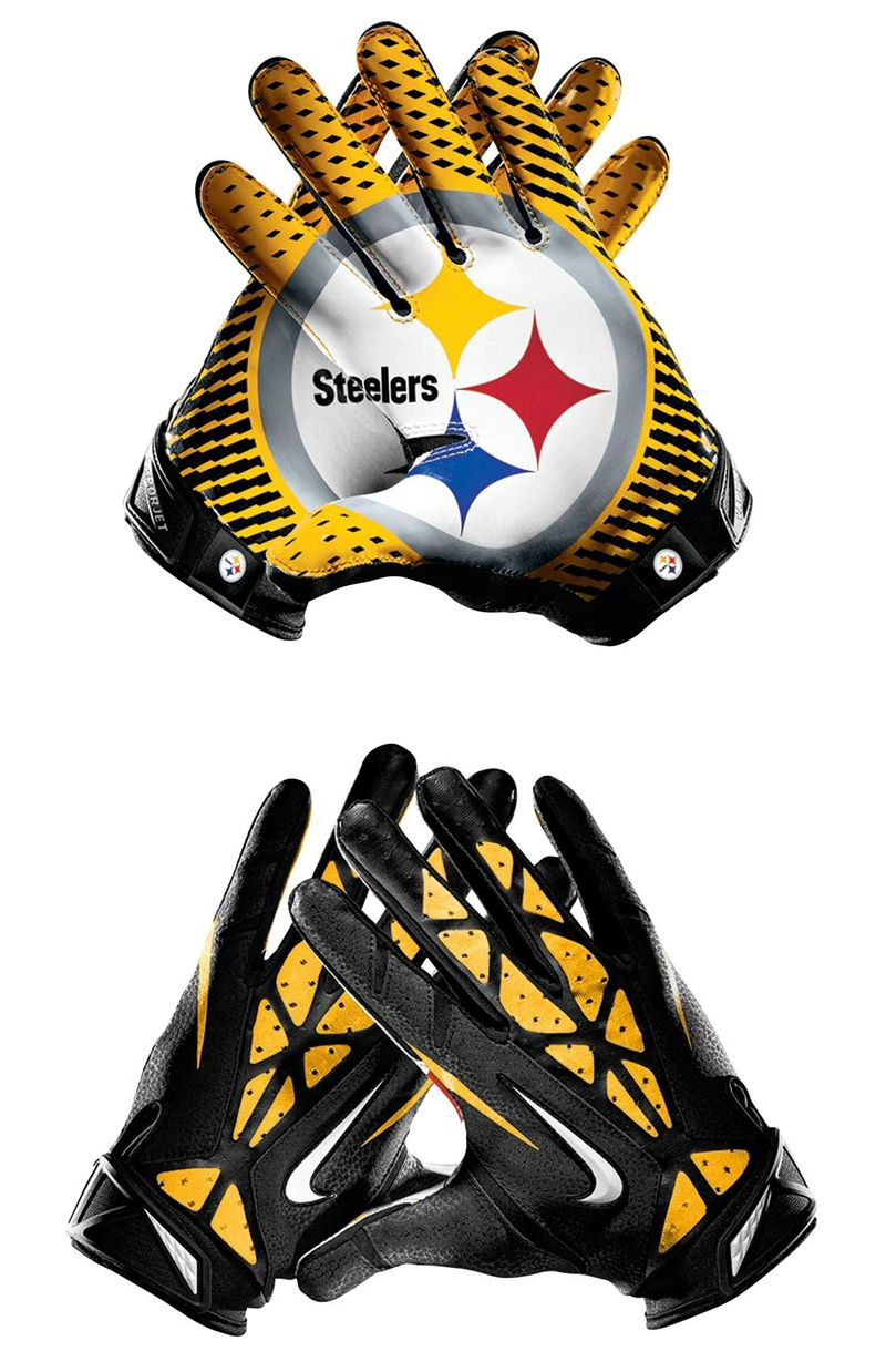 Nfl Pittsburgh Steelers Vapor Jet 2 0 American Football Wide Receiver Gloves Football Gloves Sport Player Steelers Fan