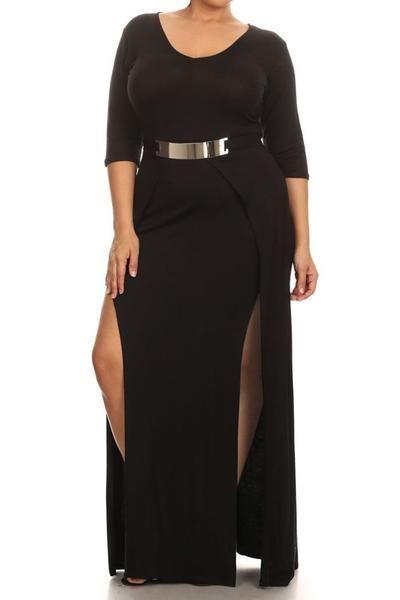 Plus Size Designer Open Slit Waist Buckle Dress DRESSES