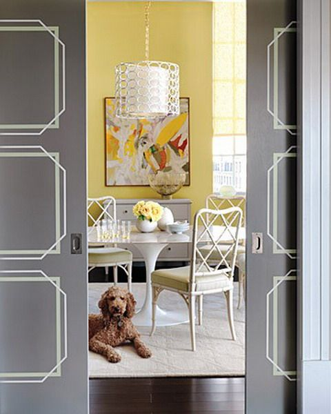 Door Stencil Idea I Love A Dining Room That Is Closed Off I Don T Like Open Concept Living Sometime You Need Painted Doors Doors Interior Stenciled Doors