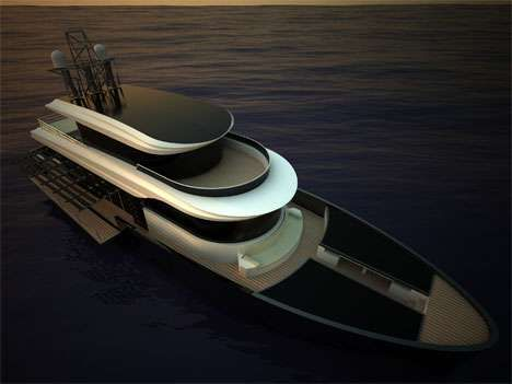 The Tritone 80 Yacht is Powered by Both Solar and Wind Energy #yachts trendhunter.com
