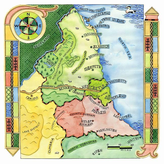 Map Of Northumbria Sarah Farooqi   Illustrated map of Northumbria, from a book about