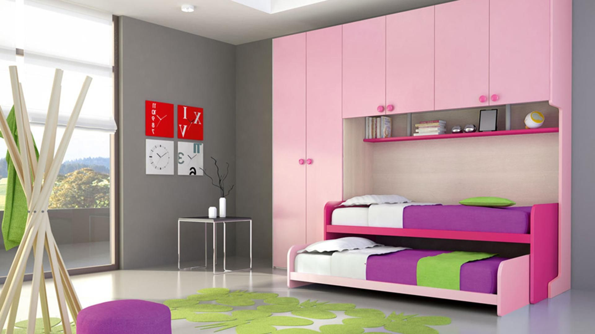 Winsome Girls Bedroom Decoration With Double Bed Under