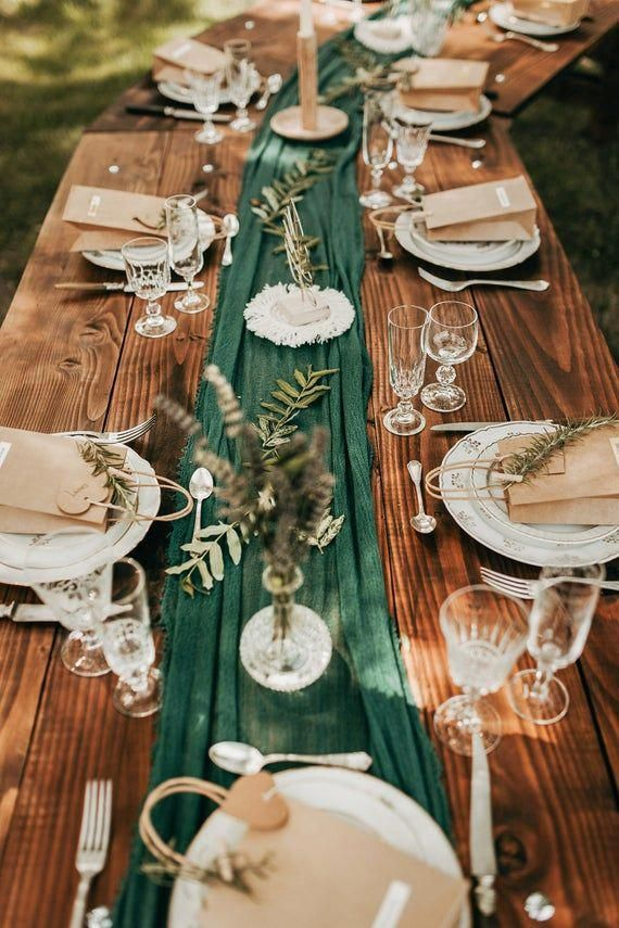 Forest Green Boho Wedding Cheesecloth table runner Wedding | Etsy