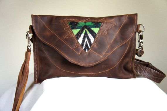 NEW///Oregon Wool and  Leather Clutch with Clip On by arebycdesign, $98.00